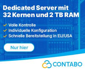 Webspace, Dedicated Server mit viel Speicherplatz, VPS und VDS bei Contabo im Shop.